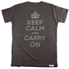Buy this Fitted T: Design: Keep Calm and Carry On; Colour: Silver on Grey; See detailed product info and choose sizing options on next screen.