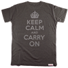 Buy this T-Shirt: Design: Keep Calm and Carry On; Colour: Silver on Grey; See detailed product info and choose sizing options on next screen.