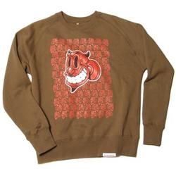 Front pic of 'Devil' Men's Crew Sweat, Red on Olive