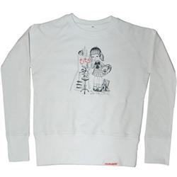 Front pic of 'Tits' Women's Crew Sweat, Black on White