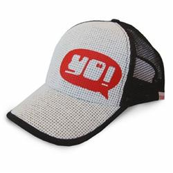 Front pic of 'YO!' Cap, Red on White