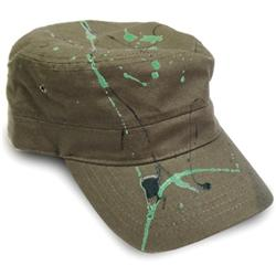 Front pic of 'Splatty' Cap, Green on Olive