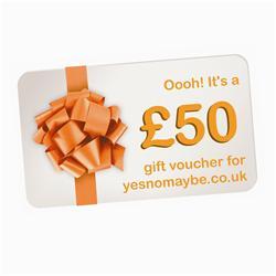 Front pic of '£50' Gift Voucher, Orange on White