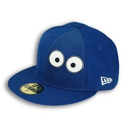 Front pic of 'Biscuit Creature' New Era 59FIFTY Baseball Cap, White on Blue