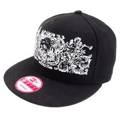 Front pic of 'Crests' Snapback Cap, White on Black
