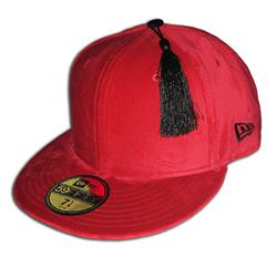 Front pic of 'The Fez' New Era 59FIFTY Baseball Cap, Black on Red