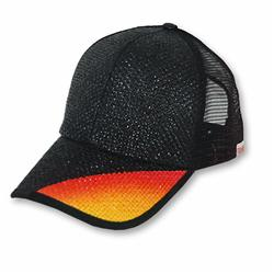 Front pic of 'Flash' Cap, Fiery on Black