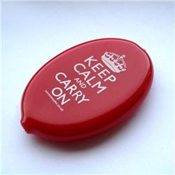 Front view of Keep Calm and Carry On Coin Holder (White on Red)