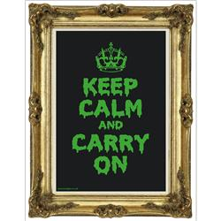 Front pic of 'Keep Calm and Carry On' Poster, Gold on Fluorescent Green