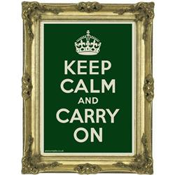 Front view of Keep Calm and Carry On Poster (Gold on Green)
