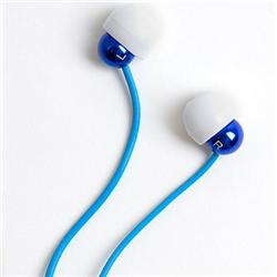 Front pic of 'Radiopaq Dots' Earphones, Blue on Blue