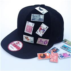 Front pic of 'STAMPCOLLECTER' Snapback Cap, Multicolour on Black