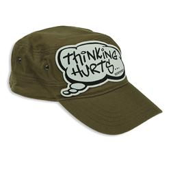 Front pic of 'Thinking Hurts' Cap, Black on Olive