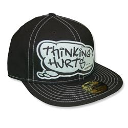 Front pic of 'Thinking Hurts' New Era 59FIFTY Baseball Cap, White on Black