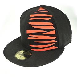 Front pic of 'Tiger' New Era 59FIFTY Baseball Cap, Orange on Black