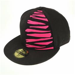 Front pic of 'Tiger' New Era 59FIFTY Baseball Cap, Pink on Black