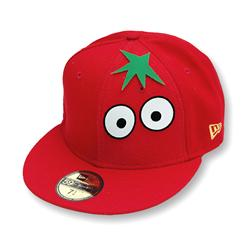 Front pic of 'Tomato' New Era 59FIFTY Baseball Cap, Green on Red