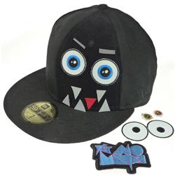 Front pic of 'Hook and Loop Edition - Monster' New Era 59FIFTY Baseball Cap, White on Black