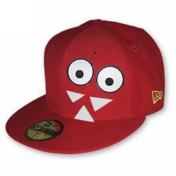 Front pic of 'Hook and Loop Edition - Monster' New Era 59FIFTY Baseball Cap, Black on Red