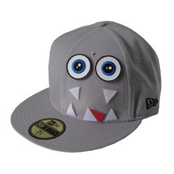 Front pic of 'Velcro Edition - Monster' New Era 59FIFTY Baseball Cap, White on Grey