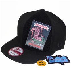 Front pic of 'Velcro-card-pouch' Snapback Cap, Assorted on Black