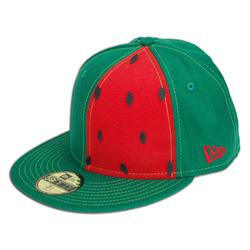 Front pic of 'Watermelon' New Era 59FIFTY Baseball Cap, Red on Green