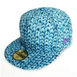 Front pic of 'Wool Print' New Era 59FIFTY Baseball Cap, Baby Blue on Blue