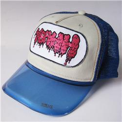 Front pic of 'Yeahh' Cap, Hot Pink on Blue