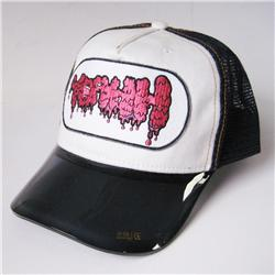 Front pic of 'Yeahh' Cap, Hot Pink on Navy