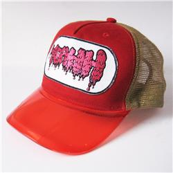 Front pic of 'Yeahh' Cap, Hot Pink on Red