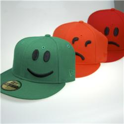 Front pic of 'YesNoMaybe 3 Pack' New Era 59FIFTY Baseball Cap, Black on Red Green Orange