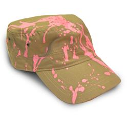 Front pic of 'Candysplat' Cap, Hot Pink on Camel