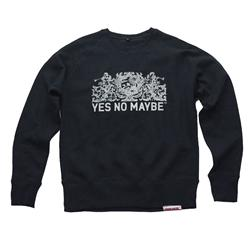 Front pic of 'Crests' Men's Crew Sweat, White on Black