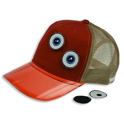 Front pic of 'Ducky' Cap, Tan on Red