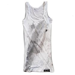 Front pic of 'FilthyDirty' Women's Vest, Grey on White