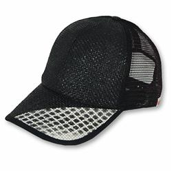 Front pic of 'Flash' Cap, Grey on Black