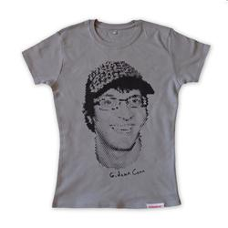 Front pic of 'Gideon Conn' Women's T-Shirt, Black on Sport Grey