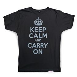 Front view of Keep Calm and Carry On Men's T-Shirt (Grey on Black)