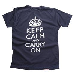 Front view of Keep Calm and Carry On Men's T-Shirt (White on Denim)