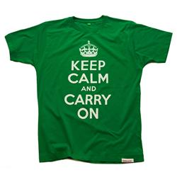 Front view of Keep Calm and Carry On Men's T-Shirt (White on Green)