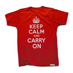 Front view of Keep Calm and Carry On Men's T-Shirt (White on Red)