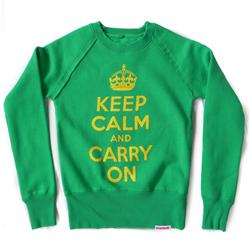 Front view of Keep Calm and Carry On Women's Crew Sweat (Yellow on Green)