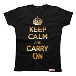 Front view of Keep Calm and Carry On Women's Fitted T (Gold on Black)