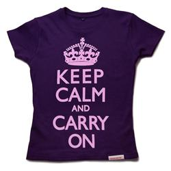 Front view of Keep Calm and Carry On Women's Fitted T (Pink on Purple)