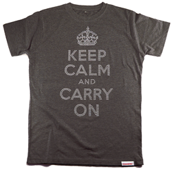 Front pic of 'Keep Calm and Carry On' Women's Fitted T, Silver on Grey