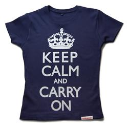 Front view of Keep Calm and Carry On Women's Fitted T (White on Navy)
