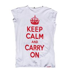 Front view of Keep Calm and Carry On Women's Raw Cut T (Red on White)