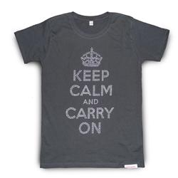 Front view of Keep Calm and Carry On Women's T-Shirt (Silver on Grey)