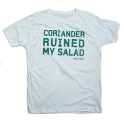 Front pic of 'Coriander Ruined My Salad' Men's T-Shirt, Green on White