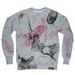 Front pic of 'FilthyDirty' Men's Crew Sweat, Red on Grey
